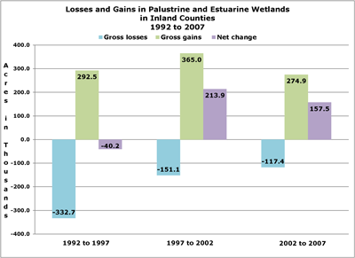 Bar chart of losses and gains in Palustrine and Estuarine wetlands, inland counties