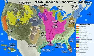 Map of NRCS Landscape Initiatives