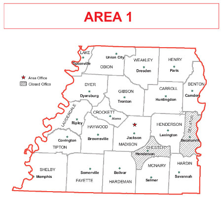 Henderson Tennessee Map.Area 1 Offices Nrcs Tennessee