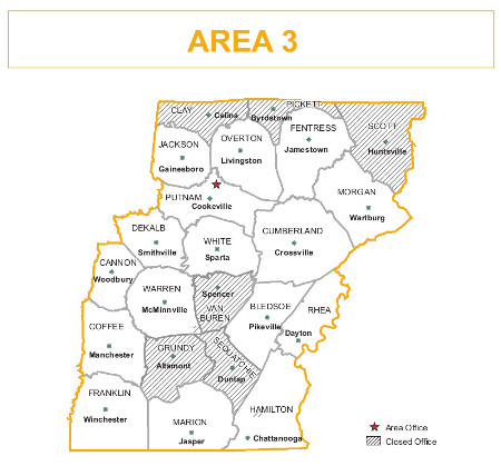 Area 3 County Map