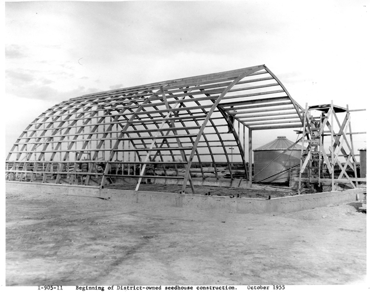 Beginning of District-owned seedhouse construction in October 1955.