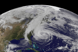 NASA satellite view of Hurricane Sandy.