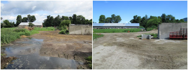 Cedar Hill Silage Leachate treatment area before and after conservation work
