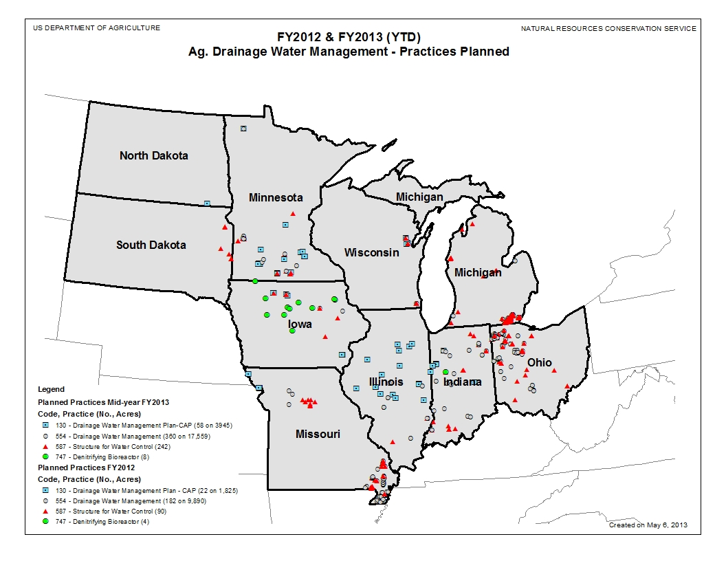 Ag Drainage Water Management Map Planned