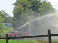 A fire truck testing a newly installed dry hydrant