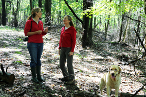 NRCS District Conservationist Kate Parsons and Hazel Holman discuss her project to control invasive plants and restore wildlife habitat.