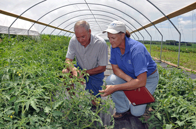 NRCS District Conservationist Julie Falcon works with a farmer in his high tunnel.