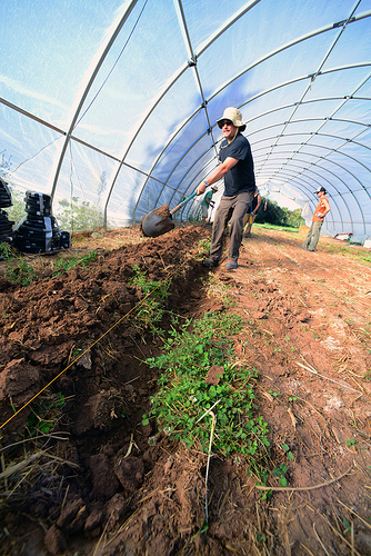 Adán Trujillo creates raised beds in the high tunnel at El Rincon Farm in Chimayó, N.M.