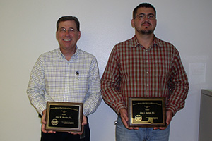 NRCS Texas State Engineer John Mueller (left) and Construction Engineer John Hrebik (right) were recently recognized by The American Society of Agricultural and Biological Engineers at their annual Texas Section Meeeting in Amarillo, TX.