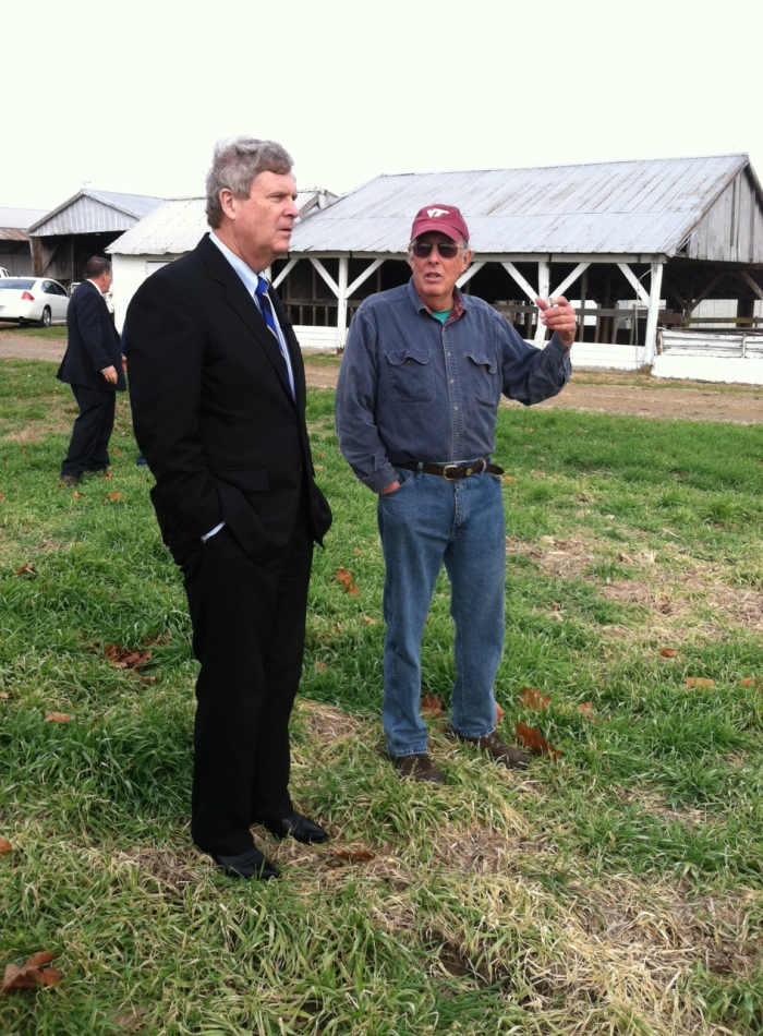 United States Secretary of Agriculture, Tom Vilsack, discusses conservation efforts with a farmer in the Chesapeake Bay Region