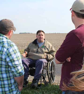 Daniel Steidinger talks about cover crops on field trip