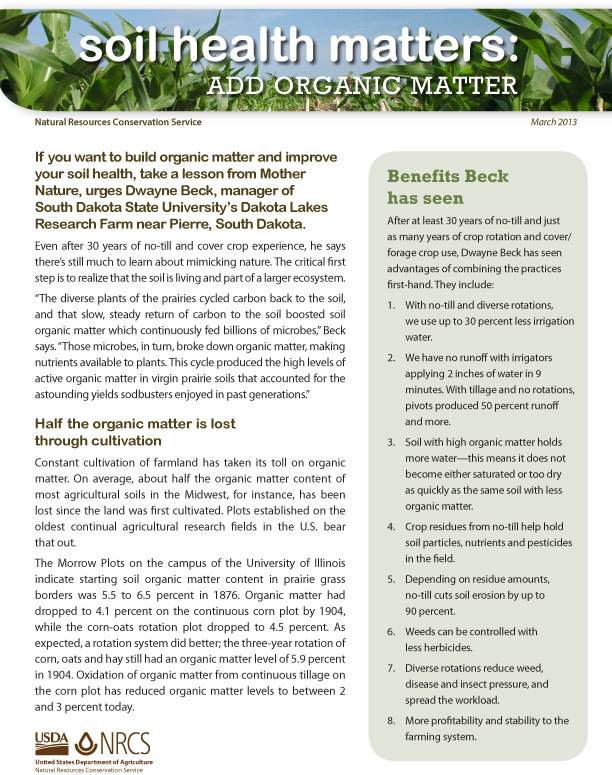 Add Organic Matter Fact Sheet