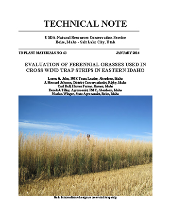 Evaluation of Perennial Grasses Used in Cross Cover of publication, Wind Trap Strips in Eastern Idaho