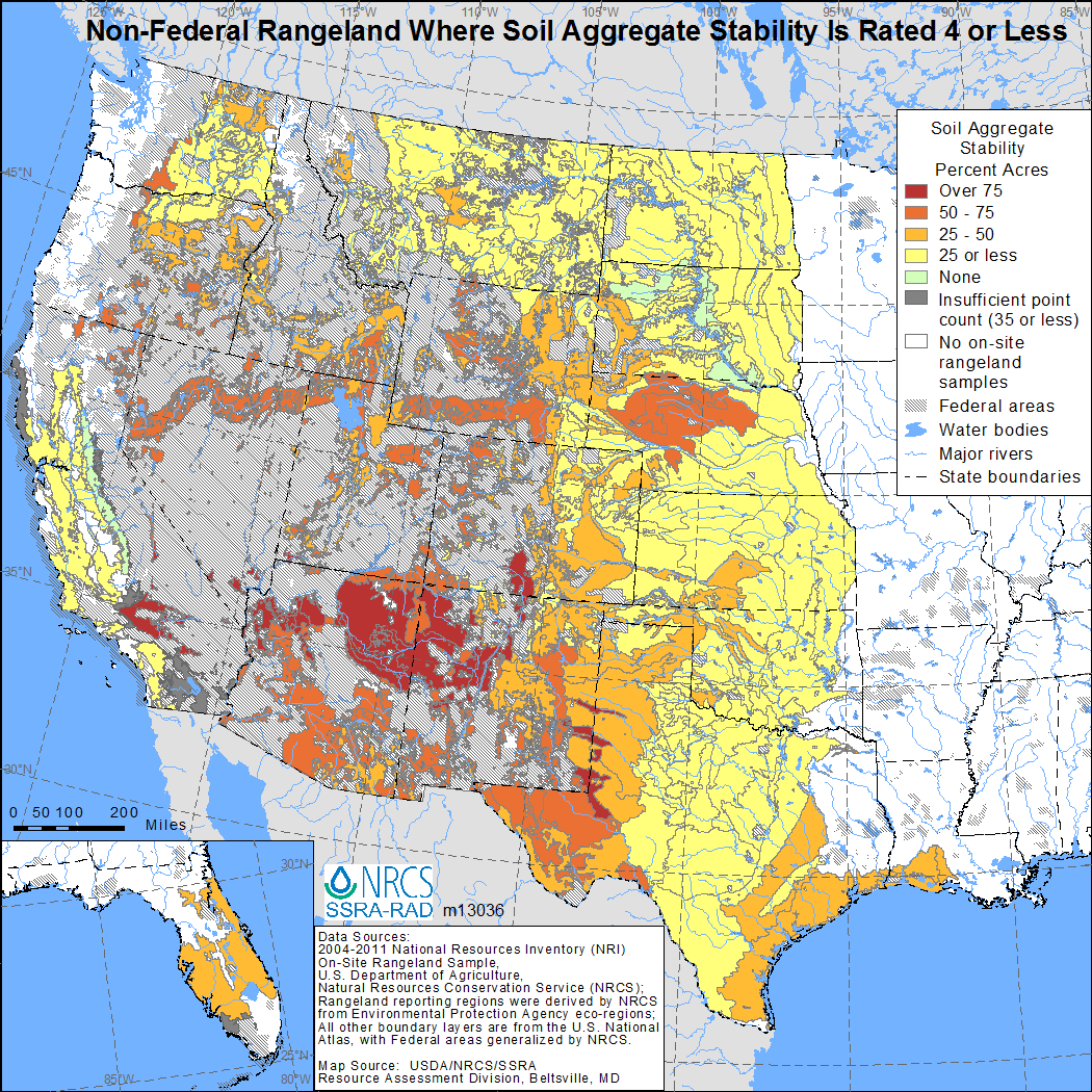 Map showing percent of non-Federal rangeland where soil aggregate stability is 4 or less indicating unstable soil.