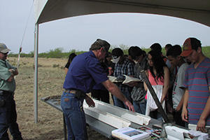 NRCS Soil Scientist Todd Carr points out soil characteristics to students from Caprock High School.
