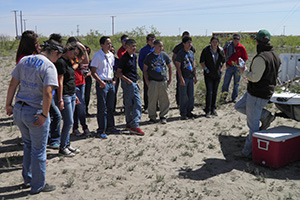NRCS staff explains wildlife management to a group of Ector County freshman.