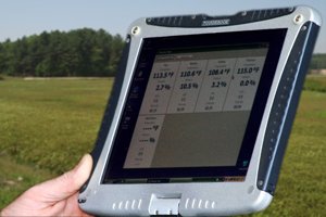 A device is used to monitor irrigation in a cranberry bog.