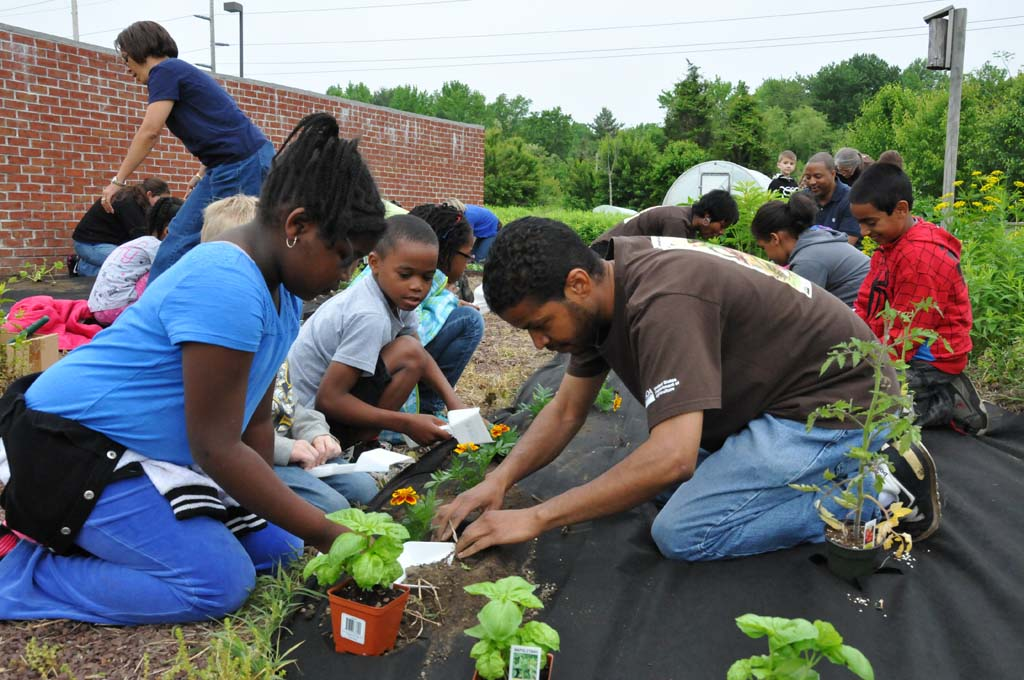 NRCS employees and North Dover Elementary students plant veggies in the USDA People's Garden.