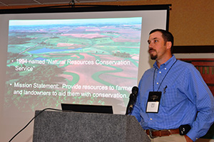 Jason Hohlt, NRCS rangeland management specialist, spoke during a session at the ICA conference.
