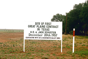 A sign was placed at the Schuster Family Farm to showcase the land of the first GPCP contract in TX.