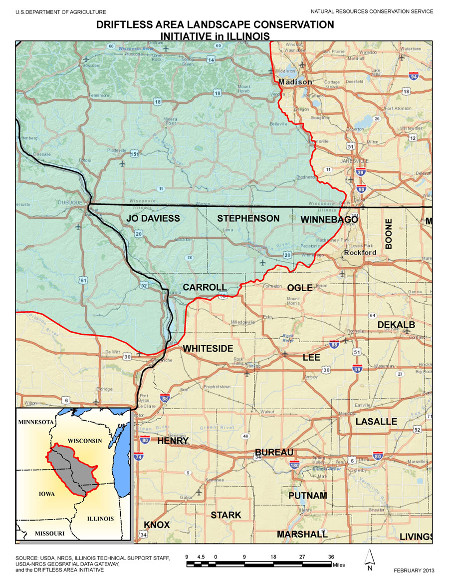 map of Driftless area
