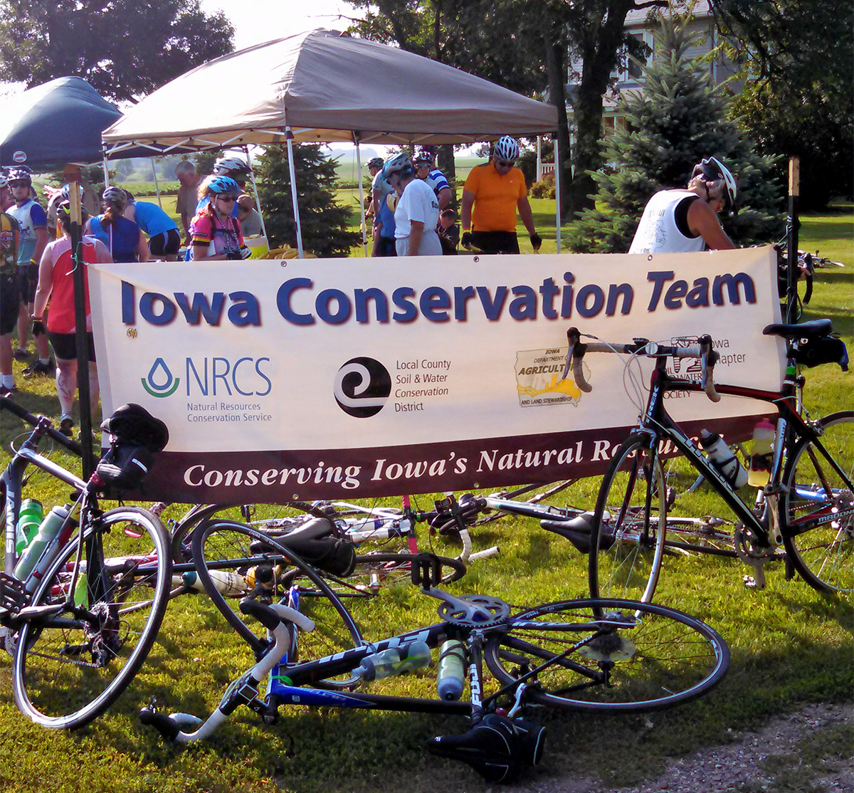 On the first day of RAGBRAI 2014, the Iowa Conservation Tent was packed near Sheldon.