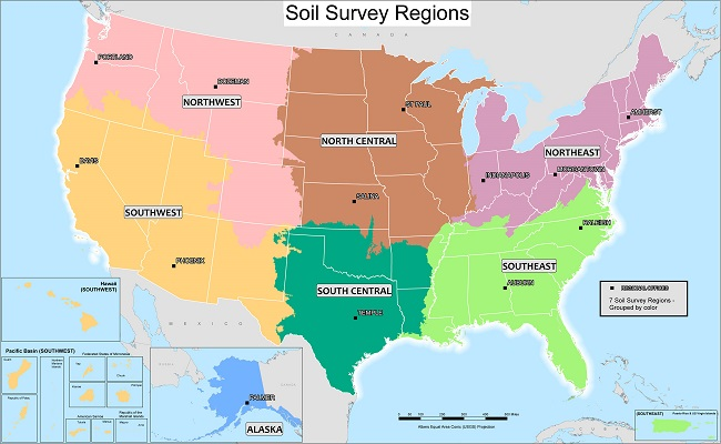 Soil Survey Regional Offices SSRs NRCS Soils - 5 us regions map