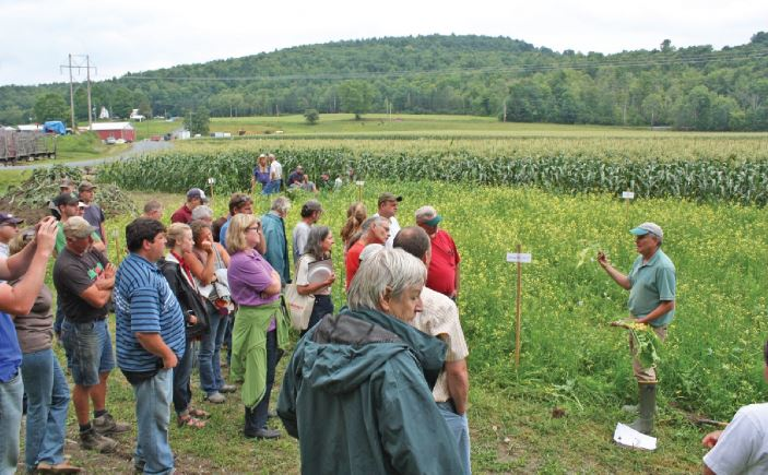 Paul Salon, NRCS, provides a cover crop demonstration at the Eckart farm