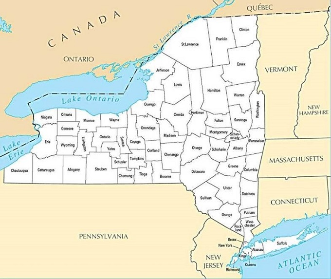 Map Of New York State Counties My Blog - New york state map with counties