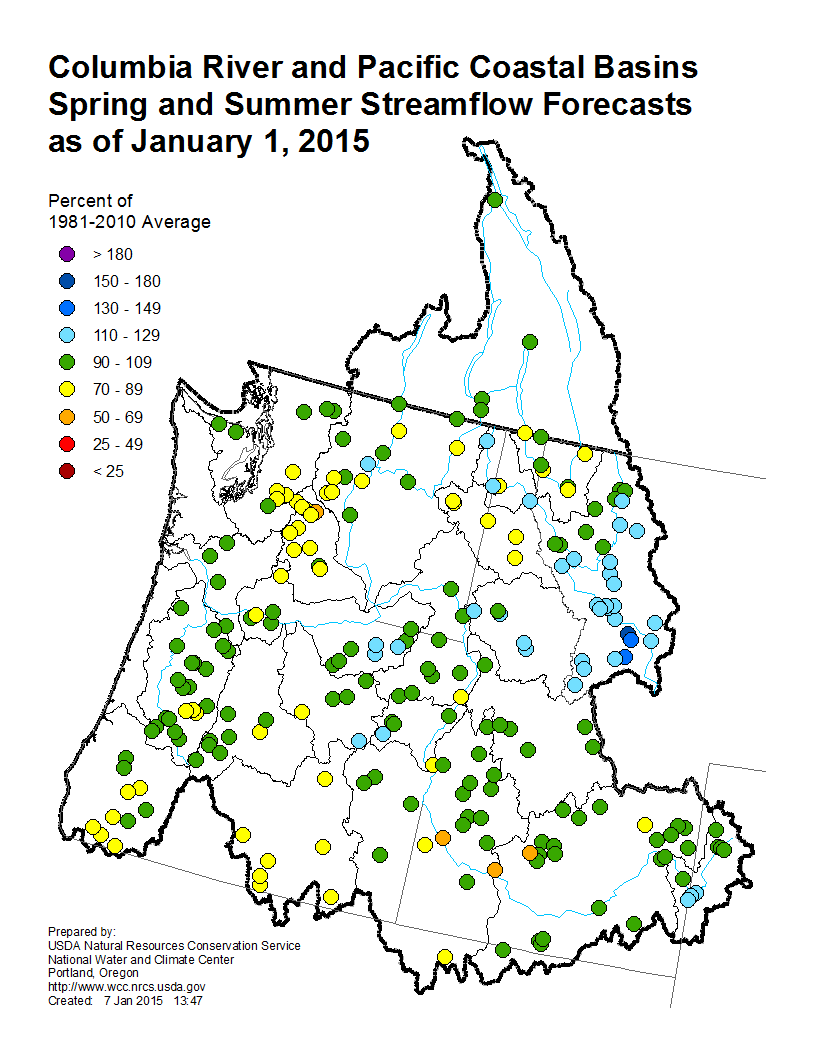 This map shows streamflow in the Columbia River and Pacific Coastal basins, as of Jan. 1. NRCS map