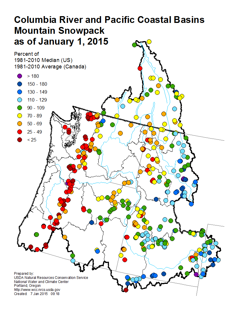 This map shows snowpack in the Columbia River and Pacific Coastal basins, as of Jan. 1. NRCS map.