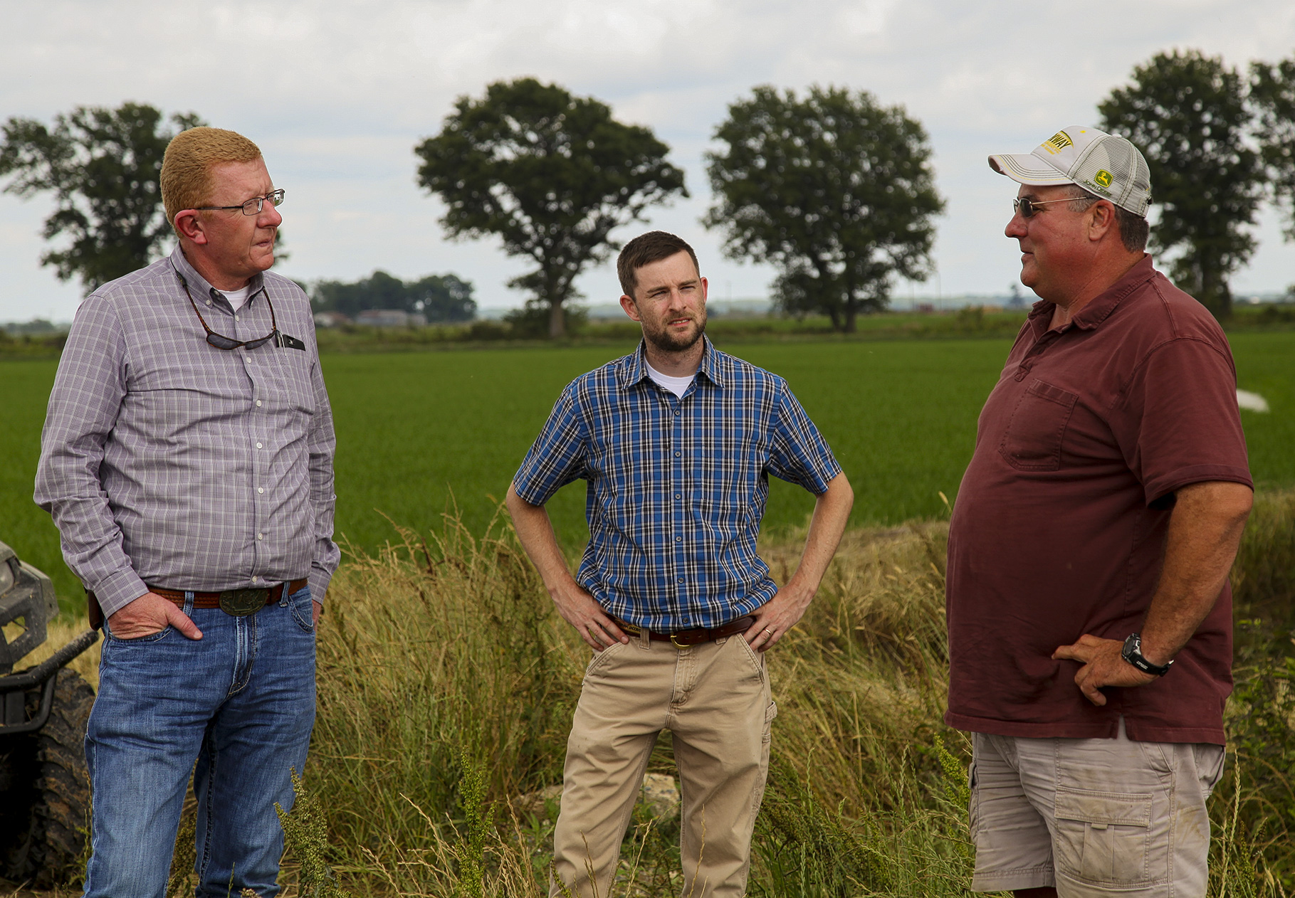 MRBI Resource Conservationist Planner Kevin Cochran, left, Prairie County District Conservationist Bryan Jacobs, and producer Steve Chlapecka, Jr.