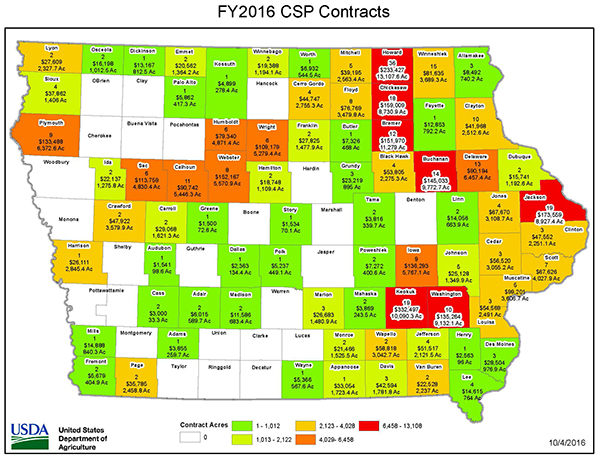 CSP funding, acres and contracts in every Iowa county for fiscal year 2016.