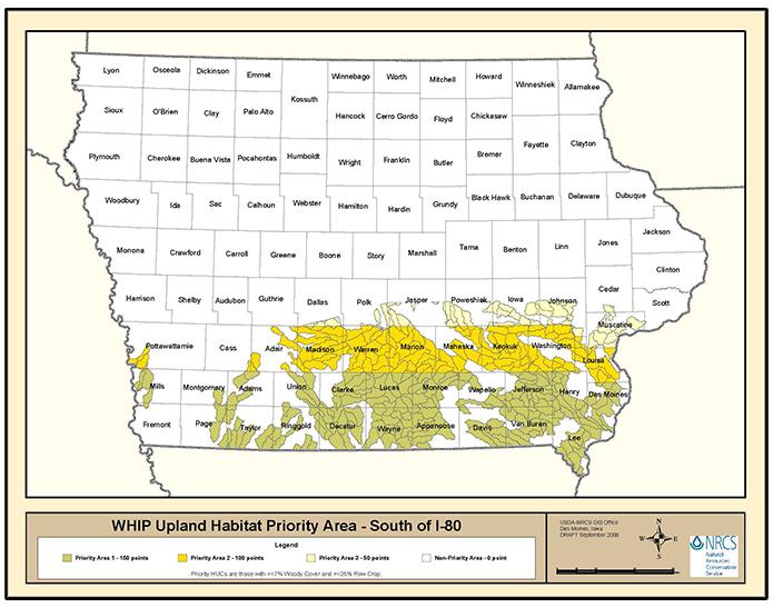 Interstate 80 Iowa Map.Iowa Eqip Habitat Priority Areas South Nrcs Iowa