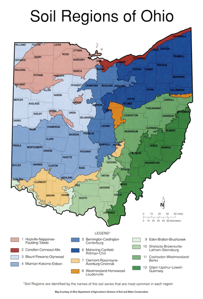 Ohio Soil Regions map
